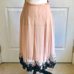 Shani Pale Pink Pleated Black Embroidered Skirt